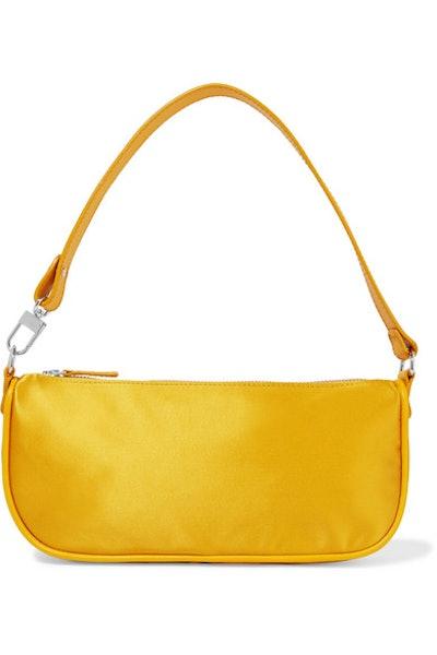 By Far Rachel Leather-Trimmed Silk Shoulder Bag