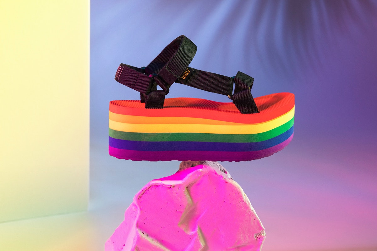 Teva x Tegan & Sara Launched A Rainbow Pride Shoe & It's The Tallest Teva You've EVER Seen