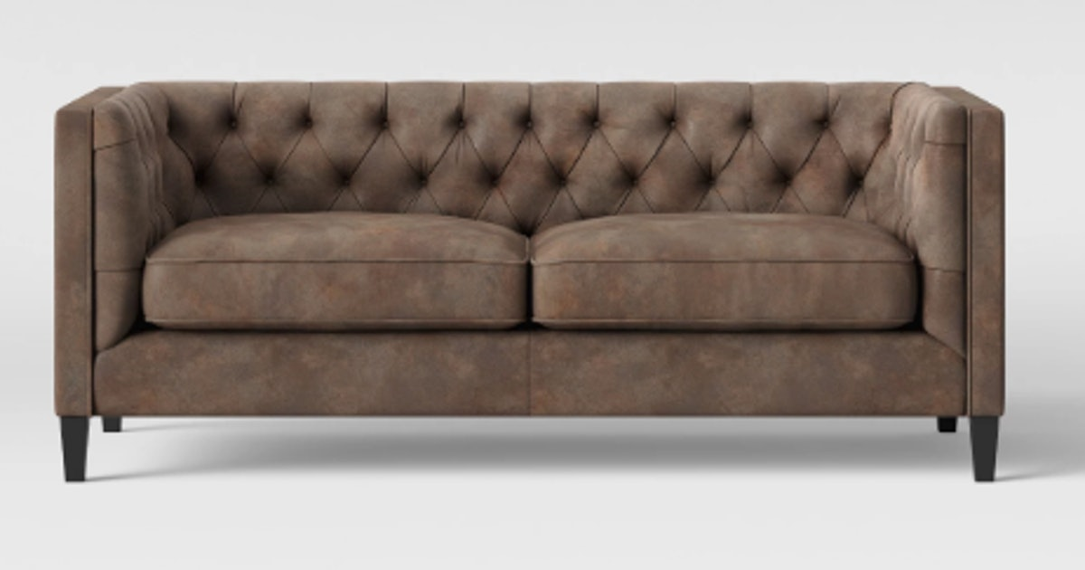 Phenomenal Lewes Tufted Sofa Tobacco Faux Leather Brown Threshold Machost Co Dining Chair Design Ideas Machostcouk