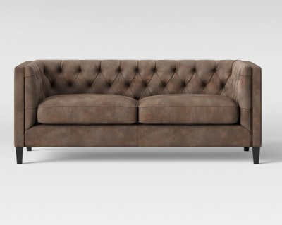Lewes Tufted Sofa Tobacco Faux Leather Brown - Threshold
