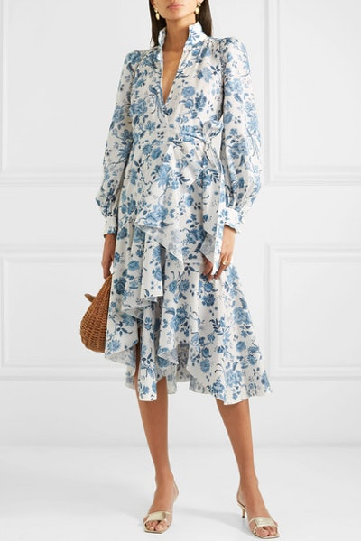 Stella Floral-Print Cotton-Poplin Wrap Dress