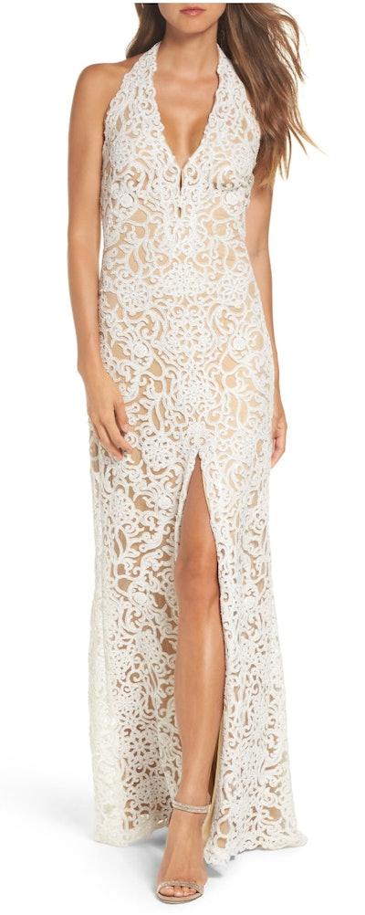 Lace Front Slit Halter Gown