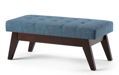 Tierney Mid Century Tufted Ottoman Bench Denim Blue Linen Look Fabric - Wyndenhall