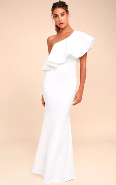 So Amazed White One Shoulder Wedding Dress