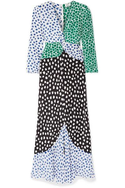 RIXO Chelsea Paneled Printed Silk-Crepe Midi Dress