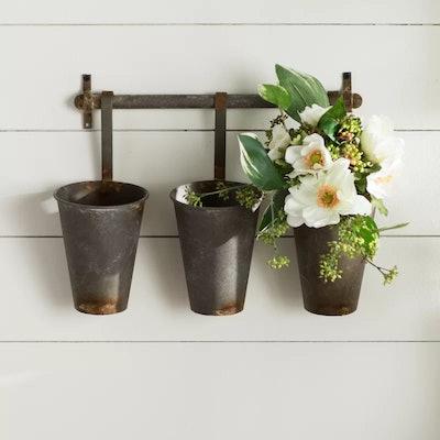 Farm Metal Wall Rack and 3 Tin Pot with Hanger Wall Decor