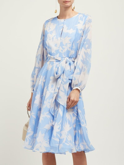Nandita Blue Shadow Floral-Print Silk Midi Dress