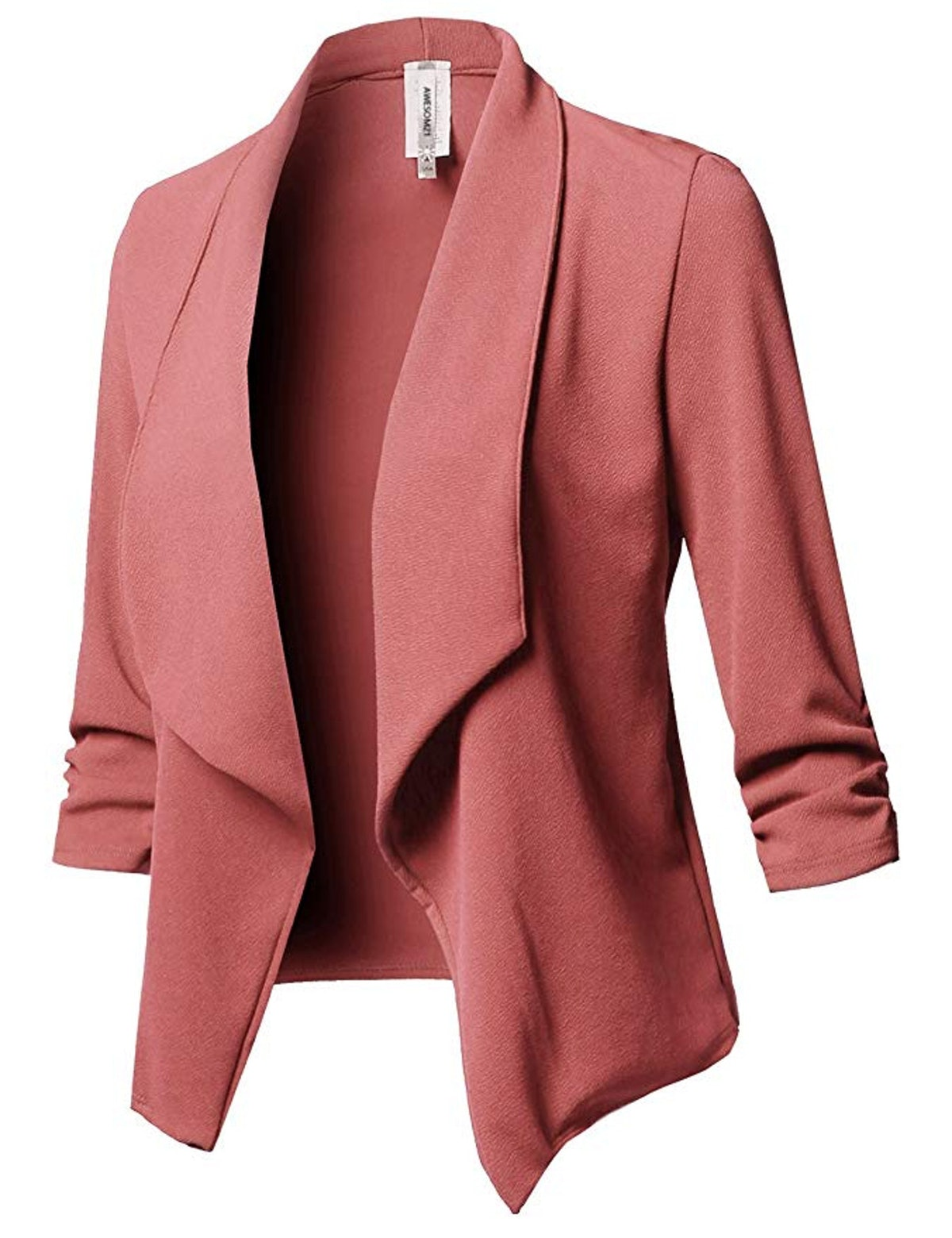Awesome21 Women's Stretch Gathered Sleeve Open Blazer Jacket