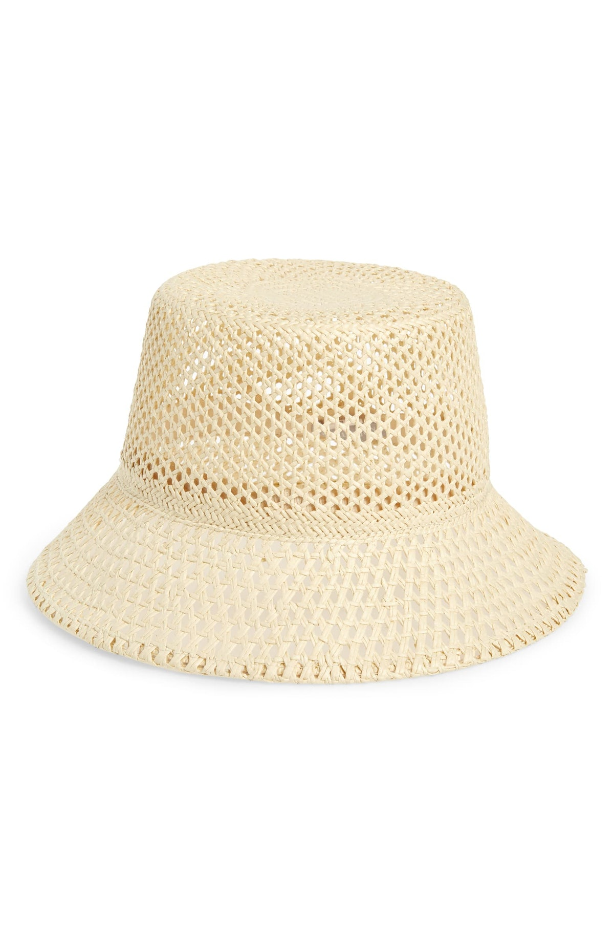 Weave Straw Bucket Hat, Main, color, NATURAL Open Weave Straw Bucket Hat