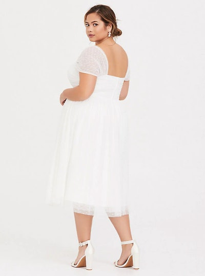 Special Occasion Ivory Dot Mesh Midi Skater Dress