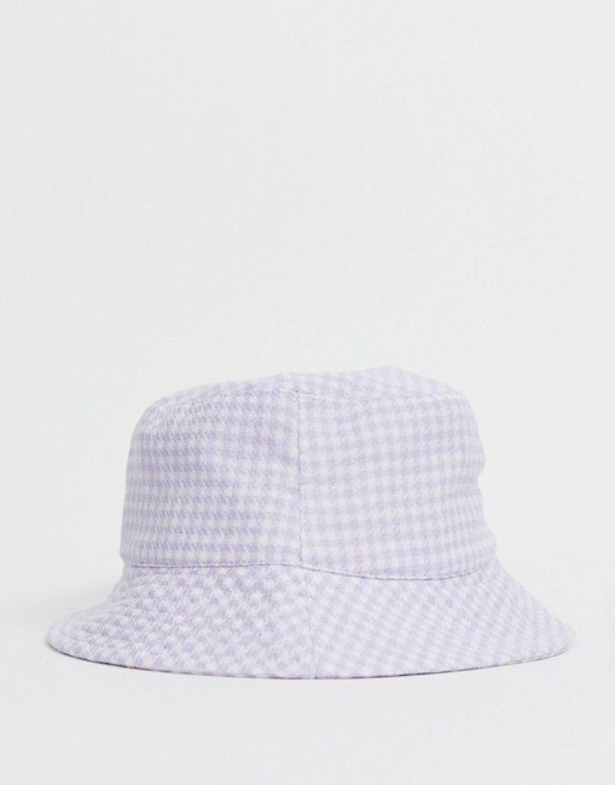 New Look gingham check bucket hat in lilac