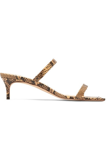 By Far Thalia Snake-Effect Leather Mules