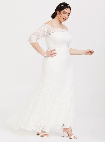 Ivory Lace Off Shoulder Formal Gown