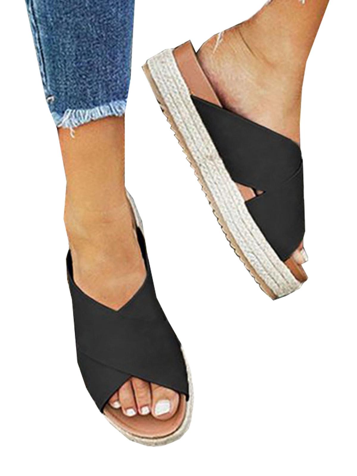 Womens Wedge Flatform Sandals Summer Open Toe Espadrilles Beach Shoes Slippers