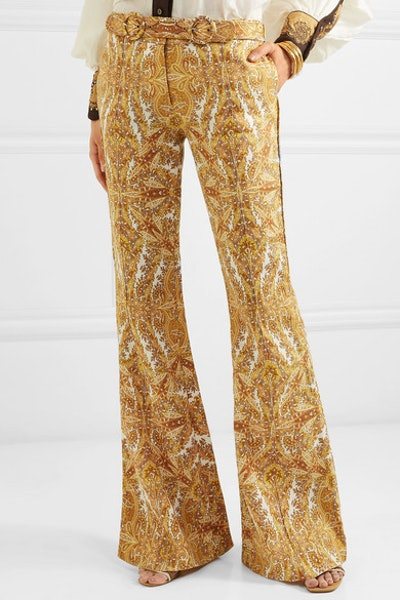 Zippy Paisley-Print Linen Flared Pants