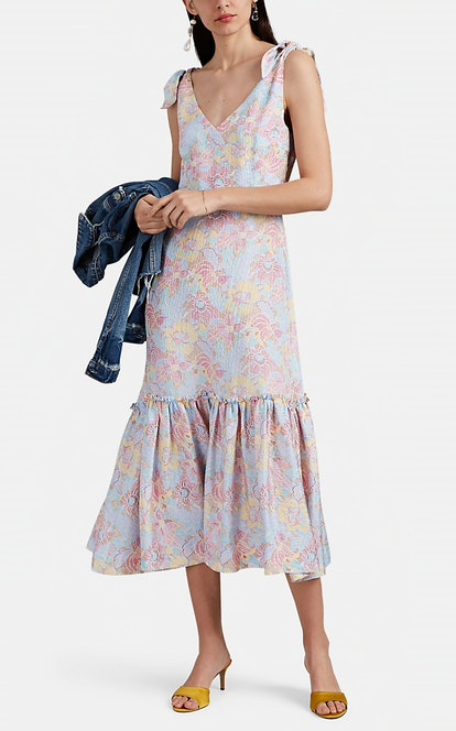 Georgia Dot-Floral Silk Jacquard Shift Dress