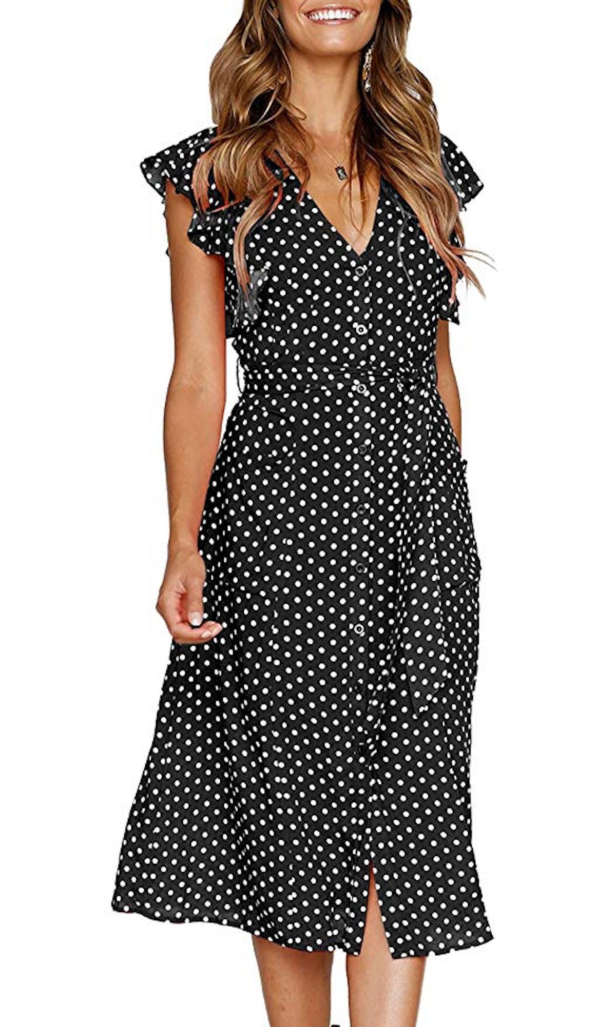 Mitilly Women's Sleeveless V-Neck Midi Dress