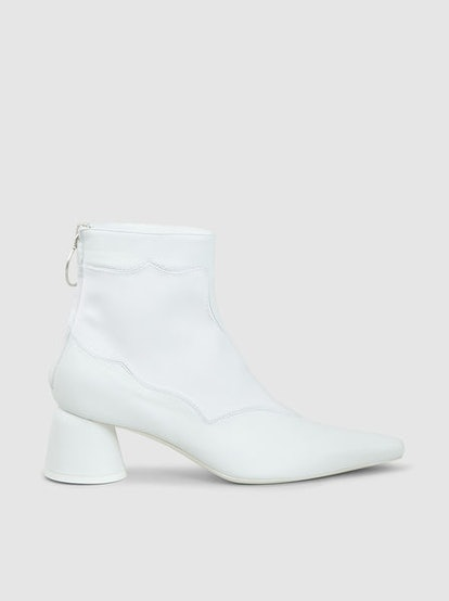 Pointed Panel Satin Ankle Boots
