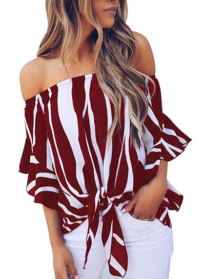 Asvivid Women's Striped Off-the-Shoulder Bell Sleeve Shirt (S-XXL)