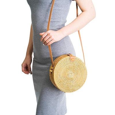 NaturalNeo Handwoven Round Rattan Bag