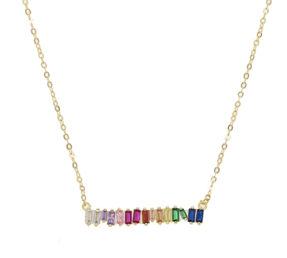 Rainbow Baguette Bar Necklace