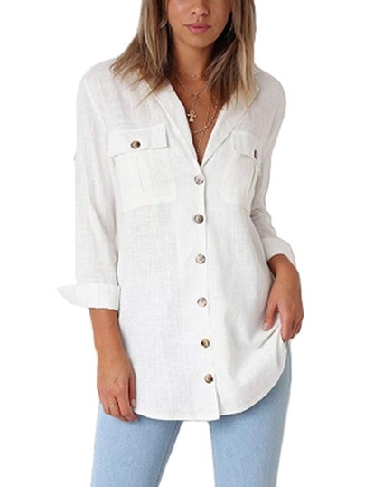 Grapent Women's Casual Roll-Up Sleeve Blouse