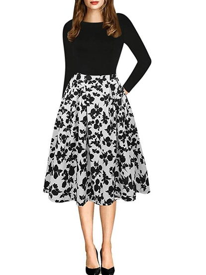 oxiuly Women's Vintage Casual Party Dress