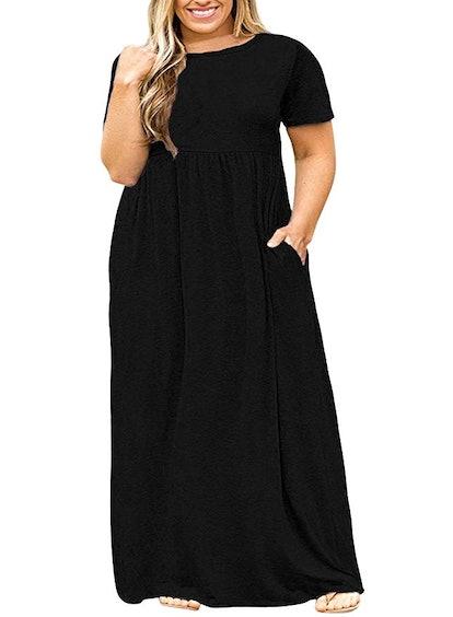 Nemidor Women Short Sleeve Casual Plus Size Maxi Dress