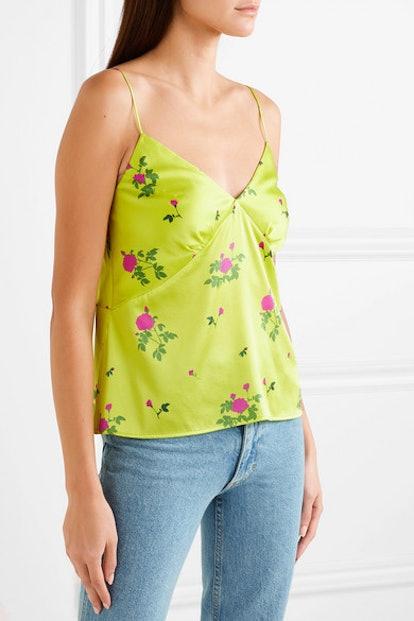 Floral-Print Silk-Satin Camisole