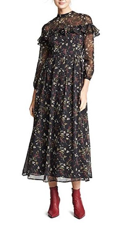 Floral Attire Chiffon Dress