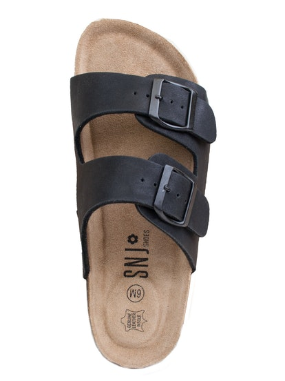 SNJ  Women's Double Strap Genuine Leather Footbed Insole Flat Sandals