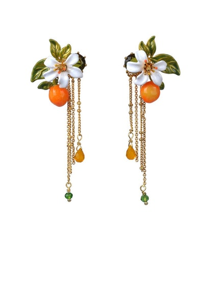 Gardens In Provence Orange Blossom Chain Earrings