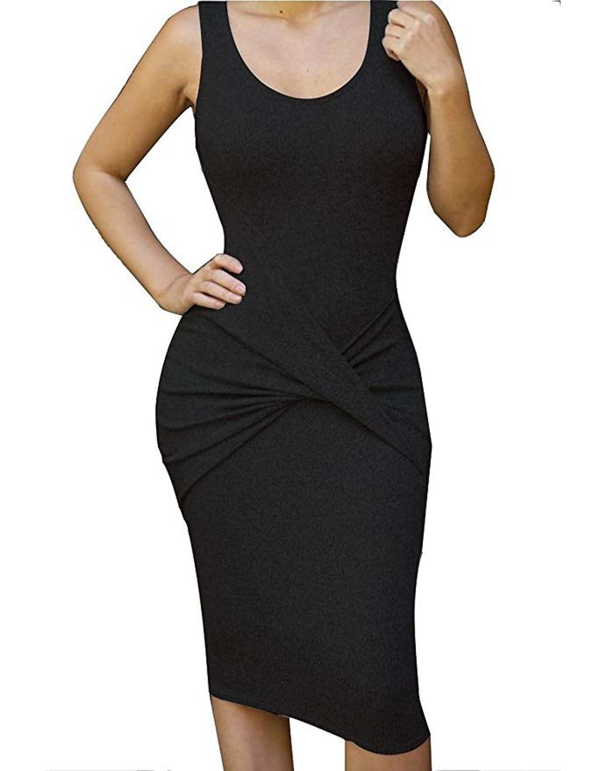 Allegrace Womens Sleeveless Bodycon Midi Dress