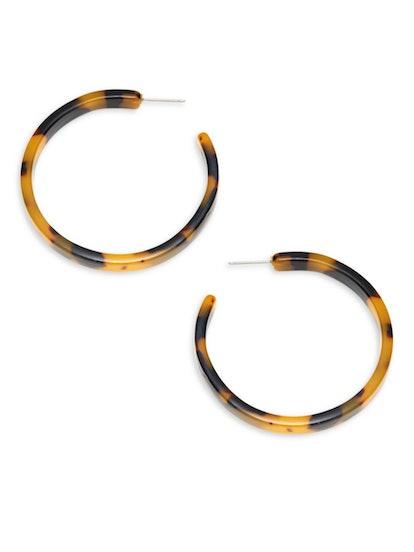 AVA & AIDEN Thin Tortoiseshell Resin Hoop Earrings