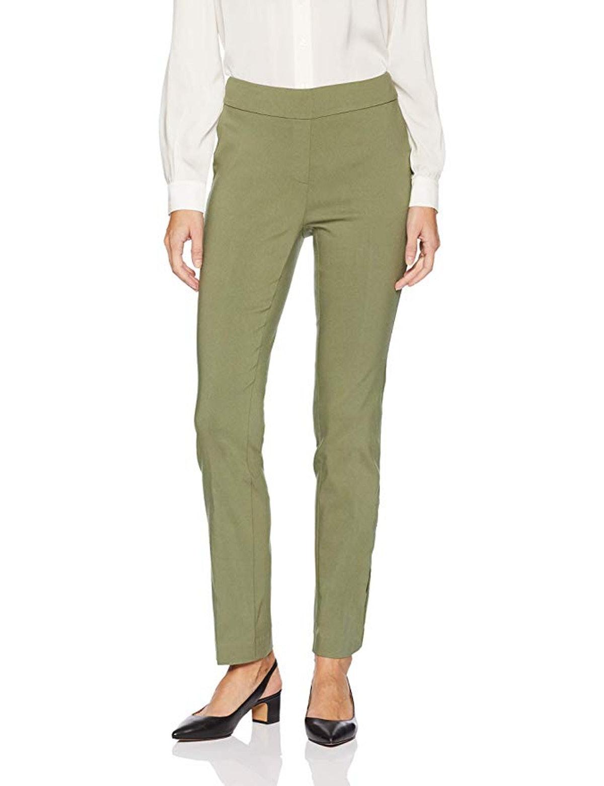Lark & Ro Women's Slim Leg Stretch Pant: Comfort Fit