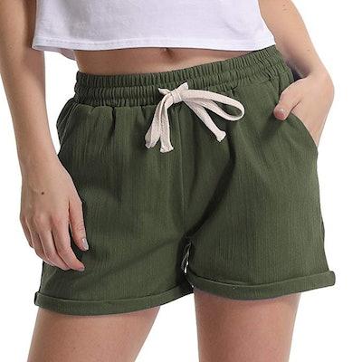 Gooket Women's Elastic Waist Linen Beach Shorts (2-24)