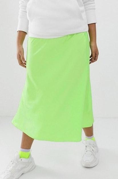 Bias Cut Satin Slip Midi Skirt In Neon