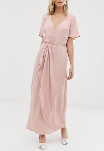 Vila Wrap Maxi Dress With Pleat Detail