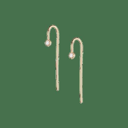 Long Midi Diamond Hook Earrings - Single