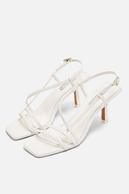 STRIPPY White Heeled Sandals