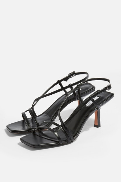 STRIPPY Black Heeled Sandals