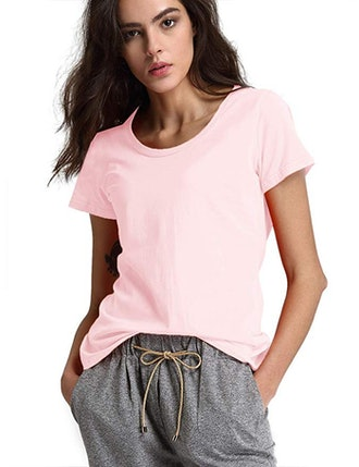 Escalier Women's Basic Cotton Short Sleeve Crew-Neck T-Shirt