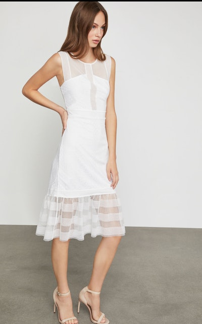Sleeveless Lace Inset Sheath Dress