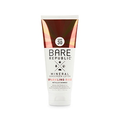 Bare Republic Mineral Shimmer Sunscreen Lotion SPF 30 in Sparkling Rose