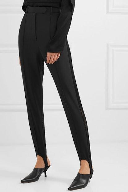 Cassandra Lace-Trimmed Crepe Stirrup Pants