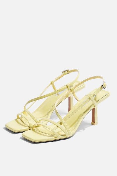 STRIPPY Lime Heeled Sandals