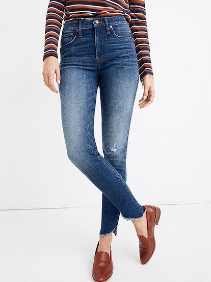 "10"" High-Rise Skinny Jeans: Cutout Tulip Hem Edition"