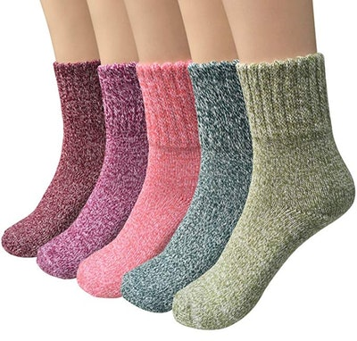 Womens Thick Knit Wool Crew Socks (5 Pack)