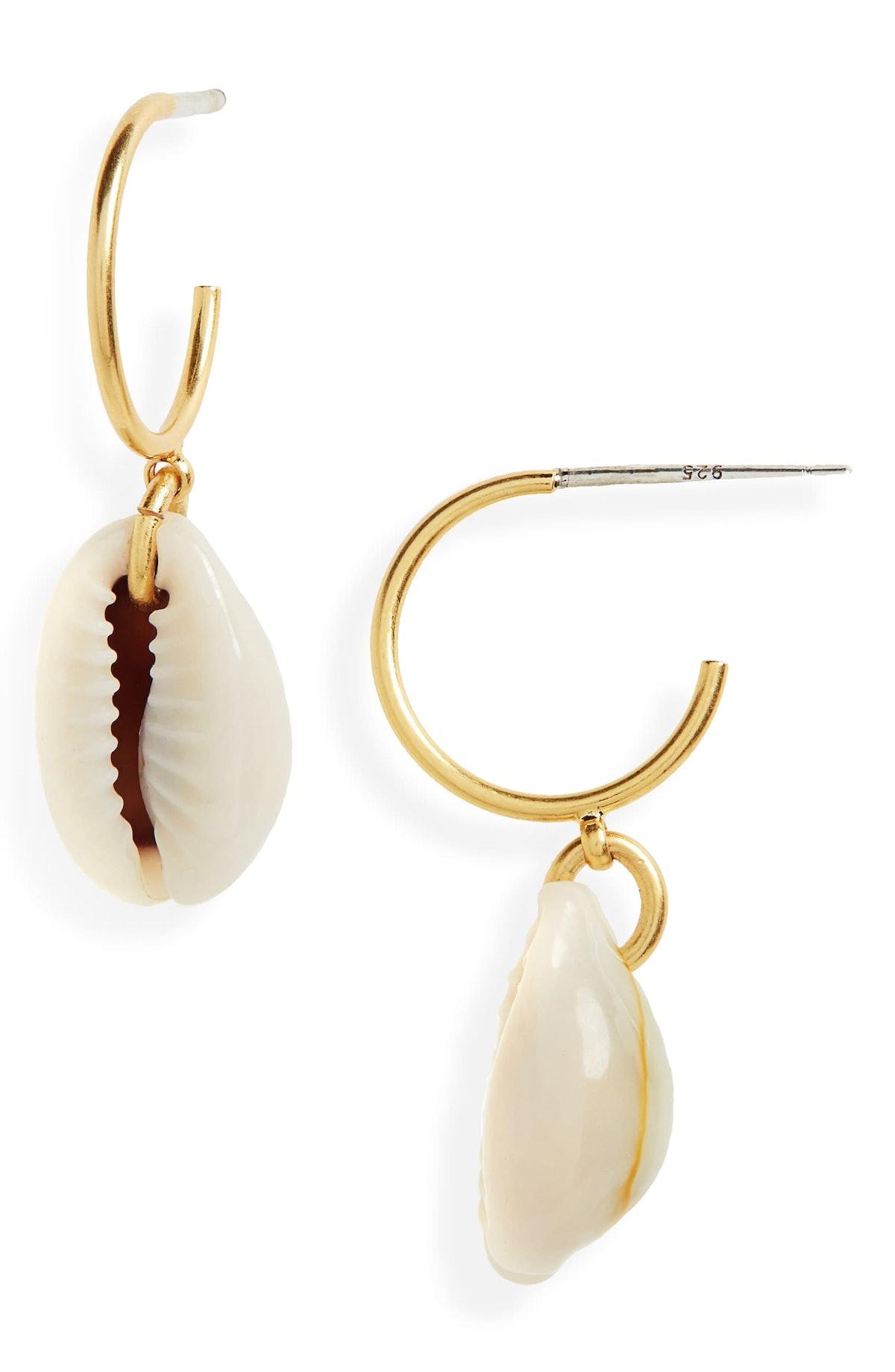 Madewell Shell Mini Hoop Earrings