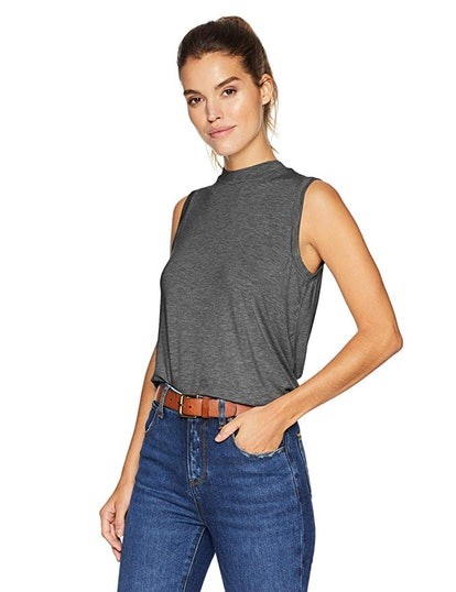 Daily Ritual Women's Jersey Sleeveless Boxy Mock-Neck Shirt